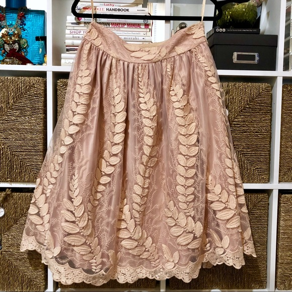 Eliza J Dresses & Skirts - NWOT Eliza J Blush Skirt w/Embroidered Leaf Design
